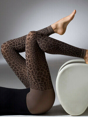 476f25c242a3a Gipsy Leopard Print Footless Tights, Patterned Animal Print, One Size