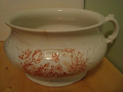 """Antique Chamber Pot 8"""" White with Floral No Cover Buford Bros."""