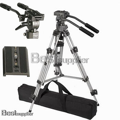 Professional Heavy Duty Tripod w/ Fluid Pan Head DSLR Carry Case Camcorder