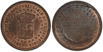 NEW FRANCE. Patagonia, Argentina. 1874 AE Essai 2 Centavos. PCGS MS65RB