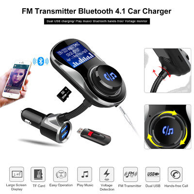 Bluetooth 4.1 FM Transmitter TF-Card A2DP FM MP3 Radio Handsfree Car Charger Kit