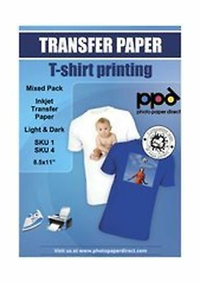 """PPD Inkjet Iron-On Mixed Light and Dark Transfer Paper LTR 8.5 x 11"""" Pack of ..."""