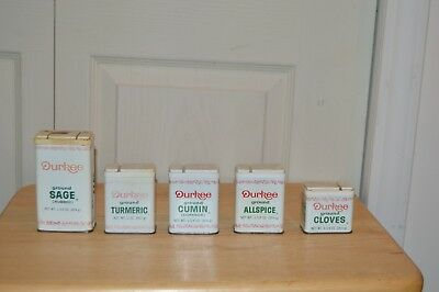 5 Vintage Durkee Metal Shaker Spice  Advertising Tins With Spice