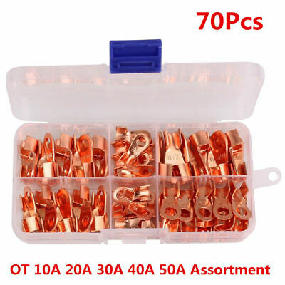 70pcs Open Barrel Copper Ring Lug Terminal Wire Crimp Connector Mixed Kit