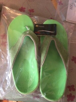 580dc33725b7 WOMEN S SPENCO TOTAL Support Orthotic Flip Flop Sandals Green NWT Sz ...