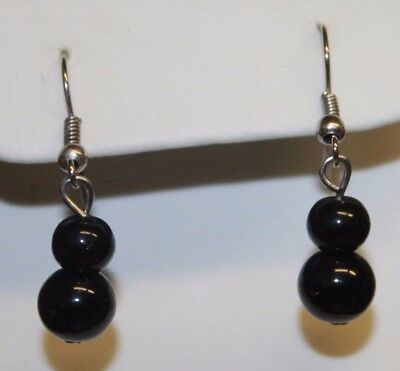 Black Glass Double Stacked Bead Dangle Earrings Silver Tone Classic Vintage