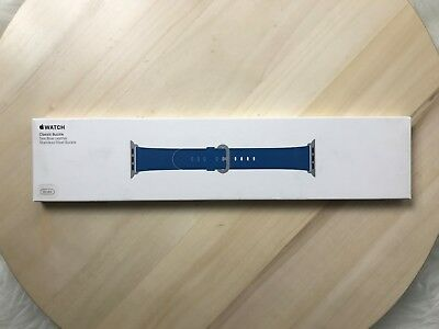 NEW OEM APPLE WATCH SPORT BAND 38mm SEA BLUE LEATHER CLASSIC BUCKLE (MNKU2AM/A)