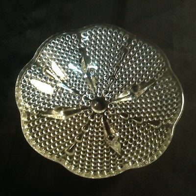 """Vintage footed,scalloped,hobnail clear glass candy dish; 6 1/2"""" x 1 1/2"""" ZZ G 4)"""