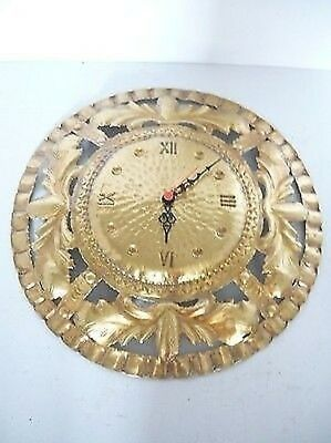 Wall Clock in Polished Brass Pierced Hand Quartz Movement