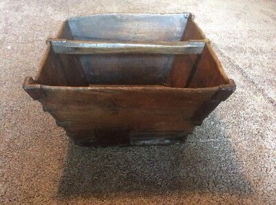 Antique Primitive Chinese Wood Rice Or Grain Bucket Basket Metal Seam & Corner