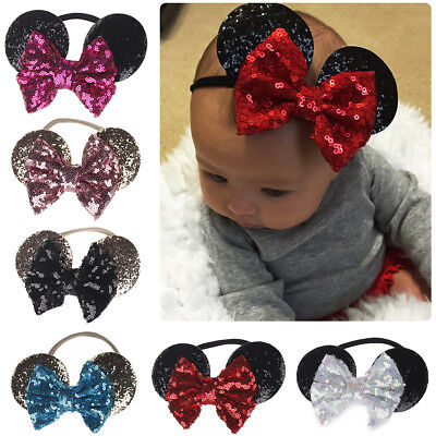 Minnie Mouse Ears Mickey Headband Kids Baby Girl Sequin Halloween Party Hairband