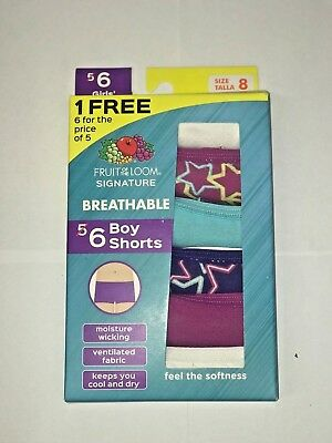 FRUIT OF THE LOOM GIRL'S BOY SHORTS BREATHABLE 6 IN A PACK assorted colors !!!