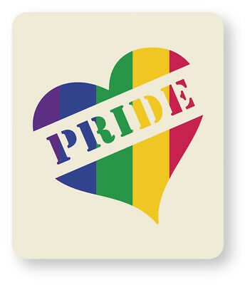 Gay Pride Love Heart Face Painting Stencil 7cm x 6cm Washable Reusable Mylar