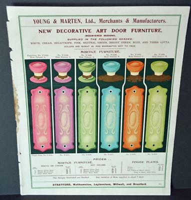 Vintage Architectural Advert ' Young and Marten Stratford 'Art Door Furniture.