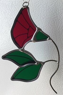 Tiffany Style? Red Flower Rose Tulip? Stained Glass Suncatcher