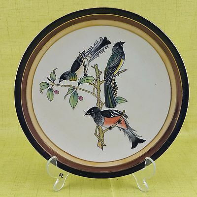 """Toyo Hand Painted Bird Plate Gold Trim 10"""" Finch Oriole Decorative"""