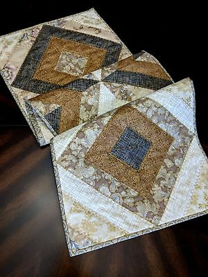 "Handmade Quilted Table Runner 16.5"" x 52"" Gold, Tan, Beige, Grey Metallic Accent"