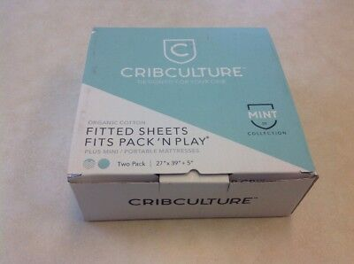 Crib Culture Organic Cotton Fitted Sheets Fits Pack N Play