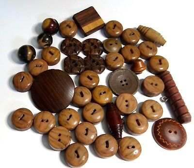 LOT 40+ Vintage Antique Wood Wooden Buttons Matching Sets Pairs & Singles
