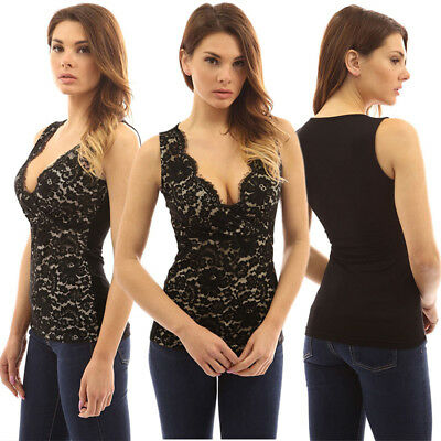 Women Lace Vest Top Sleeveless Blouse Ladies Floral Casual Tee Tank Tops T-Shirt