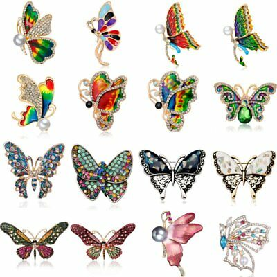 Delicate Butterfly Insect Crystal Rhinestone Collar Brooch Pin Women Jewelry New