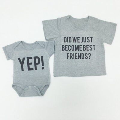 Baby Short Sleeve T-shirt BEST FRIENDS Printed Tops Pullover Infant Clothes GT