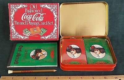 Coca Cola Old Fashioned Playing Cards, Pad & Pencil 2 Sealed Decks in Tin