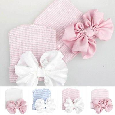 Baby Girls Infant Striped Safty health Soft Hat with Bow Cap Hospital Newborn* 1