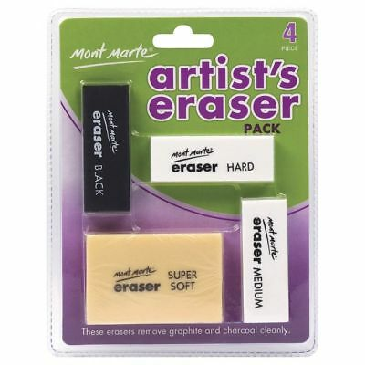 Artists Eraser Pack 4pce Arts Pencils Craft Supply Rubber Hand Good Quality