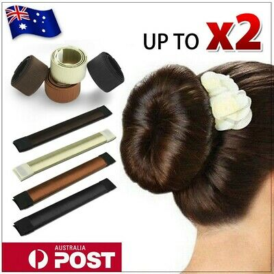Women's Magic Hair Bun Snap Styling Donut Former French Twist Band Maker Tool AU