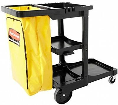 Janitor Cart Zipper Bag Commercial Products Load Service Utility Cart 3 Shelves