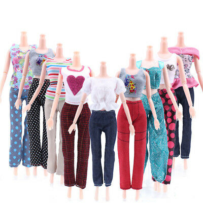 5 Tops +5 Pants Fashion Gift Casual Summer Clothes Outfit For Barbie Doll Lovely