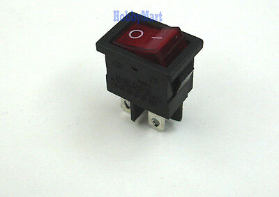 Rocker Mini Switch 21 x 15mm Red Light Color 4 Pin POS 250V 6A On Off Switch x 2