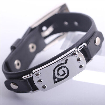 Anime Naruto Button Leather Bracelet Wristband Cosplay Collection Gift