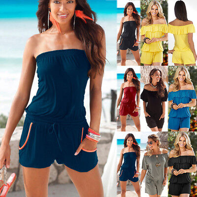 Womens Holiday Casual Strapless Mini Playsuit Jumpsuit Beach Romper Shorts Dress