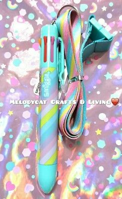 Smiggle Rainbow Pen 8 Colours With A Lanyard, 🌈pastel Rainbow⛱