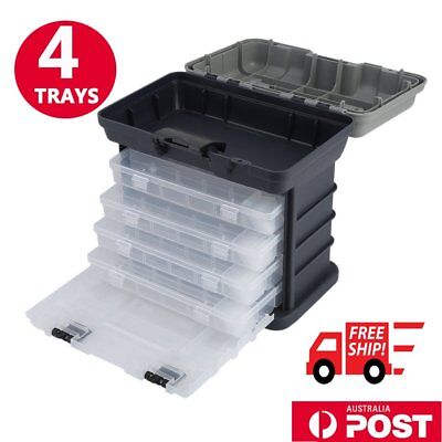 4 Tray Heavy Duty Strong Fishing Tackle Box for Terminal Tackle Tool BOX BN