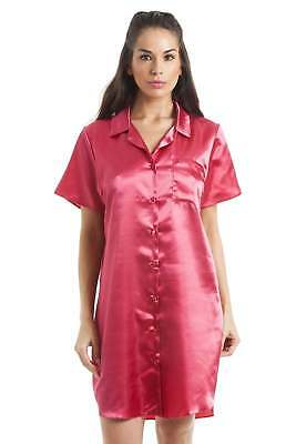 Camille Womens Luxurious Knee Length Red Satin Nightshirt Nighty