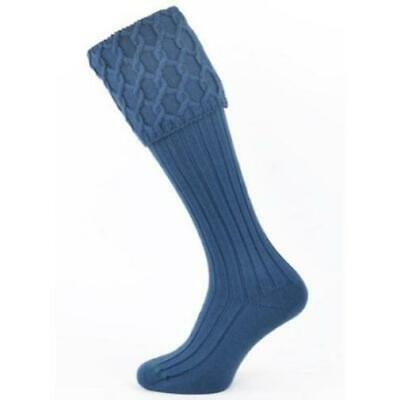 Lewis Cable Knit Ancient Blue Merino Wool Kilt Hose Socks Made in Scotland