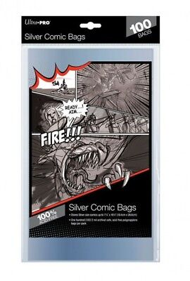 100 Pockets Ultra pro Comics Silver Size Bags 184 x 266 mm 81976
