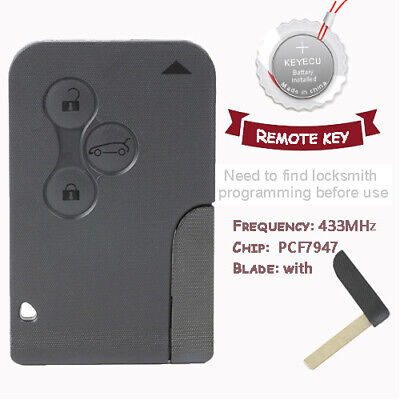 Sale Remote Key 433MHz PCF7947 for Renault Megane Scenic 2003-2008, Clio No Logo