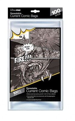 100 Pockets Ultra pro Resealable Current Comic Size Bags 174 x 266 mm 82225