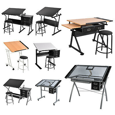 Adjustable Drafting Drawing Table Drawer Desk with/without Stool for Adult Kids