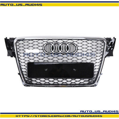 Chrome Honeycomb Mesh Front Grill Upper Grille For Audi A4 S4 B8 RS 2009-2012
