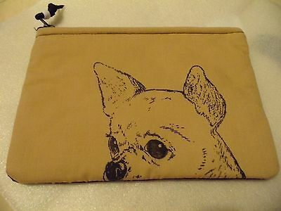 Zipper Pouch Camera Case Cosmetic Jewelry Chihuahua Dog Dog Handmade New