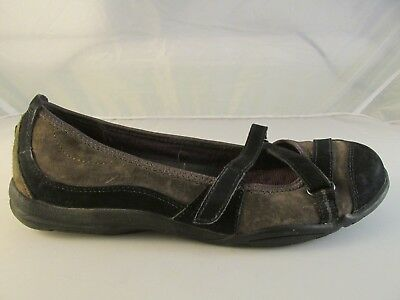 83201dc5e05 Privo by Clarks Ballet Flats Suede Loafer Black Gray Shoes Women s Size 7.5  US