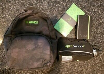 NEW It Works mini backpack, 3 notepads, and blitz bottle!