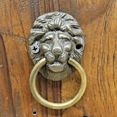 Antique Style Rustic Cast Iron Lion Face Door knocker with Brass Ring #001