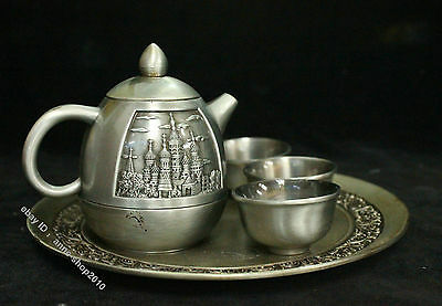 Chinese antique Silver Bronze flagon wine pot Utensil Cup Tea Pot set church