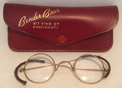 Child's Eyeglasses Round Lens Wire Frame Leather Case Bender Brothers Cincinnati